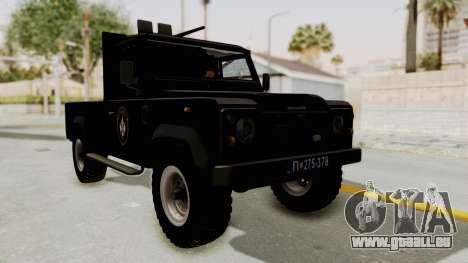 Land Rover Defender SAJ pour GTA San Andreas vue de droite
