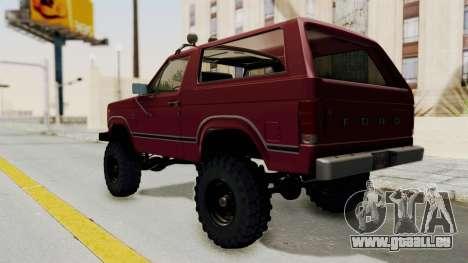 Ford Bronco 1985 Lifted für GTA San Andreas zurück linke Ansicht
