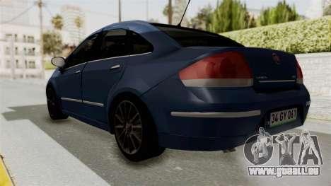 Fiat Linea 2011 pour GTA San Andreas sur la vue arrière gauche