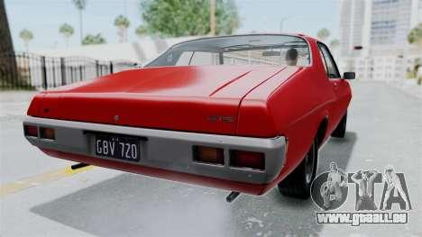 Holden Monaro GTS 1971 AU Plate HQLM pour GTA San Andreas laissé vue