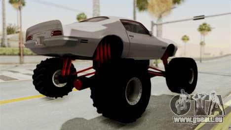 Pontiac Firebird 1970 Monster Truck pour GTA San Andreas vue de droite