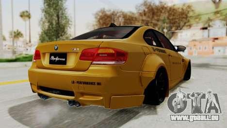 BMW M3 E92 Liberty Walk pour GTA San Andreas vue de droite