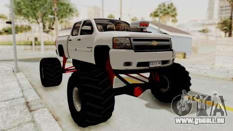 Chevrolet Silverado 2011 Monster Truck für GTA San Andreas zurück linke Ansicht