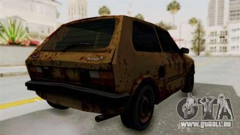 Zastava Yugo Koral 55 Rusty pour GTA San Andreas sur la vue arrière gauche