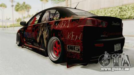 Mitsubishi Lancer Evolution X Ken Kaneki Itasha pour GTA San Andreas laissé vue