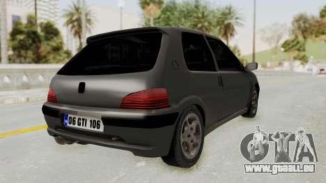 Peugeot 106 GTI Stock pour GTA San Andreas laissé vue