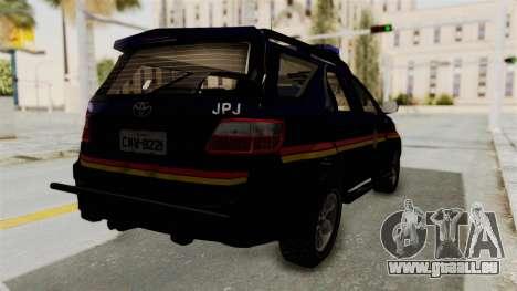 Toyota Fortuner JPJ Dark Blue pour GTA San Andreas sur la vue arrière gauche