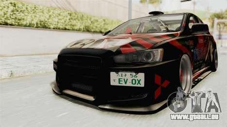 Mitsubishi Lancer Evolution X Ken Kaneki Itasha pour GTA San Andreas