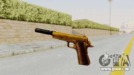 Silenced M1911 Gold pour GTA San Andreas troisième écran