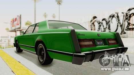 GTA 5 Dundreary Virgo Classic Custom v1 pour GTA San Andreas sur la vue arrière gauche