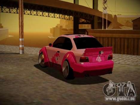 BMW M3 E36 Pinkie Pie pour GTA San Andreas vue de dessus