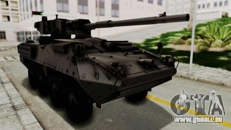 M1128 Mobile Gun System für GTA San Andreas zurück linke Ansicht