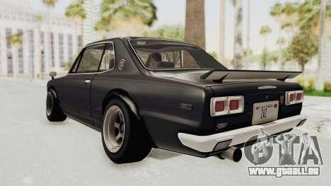 Nissan Skyline KPGC10 1971 Camber pour GTA San Andreas laissé vue