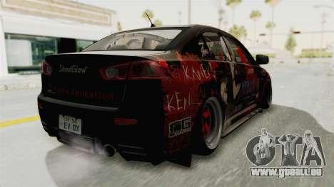 Mitsubishi Lancer Evolution X Ken Kaneki Itasha pour GTA San Andreas sur la vue arrière gauche