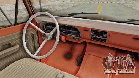 Ford F-350 U-Haul 1971 IVF pour GTA San Andreas vue intérieure