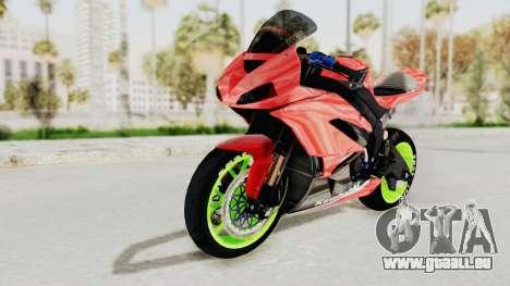 Kawasaki Ninja ZX-6R Boy from Anak Jalanan pour GTA San Andreas sur la vue arrière gauche