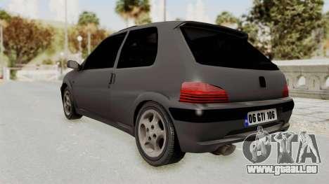 Peugeot 106 GTI Stock für GTA San Andreas zurück linke Ansicht