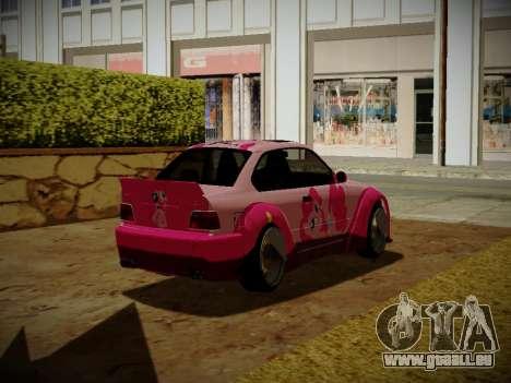 BMW M3 E36 Pinkie Pie pour GTA San Andreas sur la vue arrière gauche