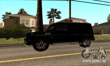Mercedes G63 Biturbo für GTA San Andreas zurück linke Ansicht