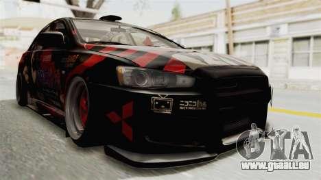 Mitsubishi Lancer Evolution X Ken Kaneki Itasha pour GTA San Andreas vue de droite