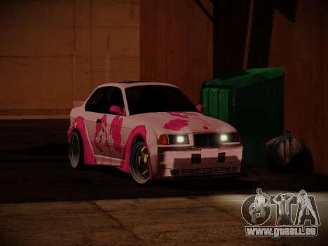 BMW M3 E36 Pinkie Pie pour GTA San Andreas vue de droite