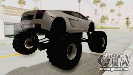 Lamborghini Gallardo 2005 Monster Truck pour GTA San Andreas sur la vue arrière gauche