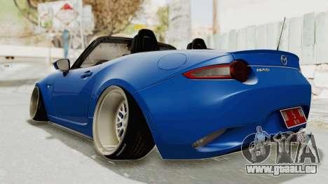 Mazda MX-5 Slammed pour GTA San Andreas sur la vue arrière gauche