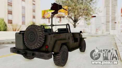 MGSV Jeep pour GTA San Andreas sur la vue arrière gauche