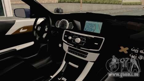 Honda Accord 2017 pour GTA San Andreas vue intérieure