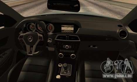 Mercedes-Benz C63 AMG Black-series pour GTA San Andreas vue arrière