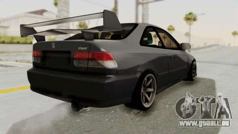 Honda Civic 1995 FnF für GTA San Andreas zurück linke Ansicht