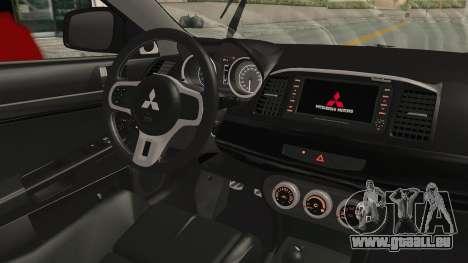 Mitsubishi Lancer Evolution X Ken Kaneki Itasha pour GTA San Andreas vue intérieure
