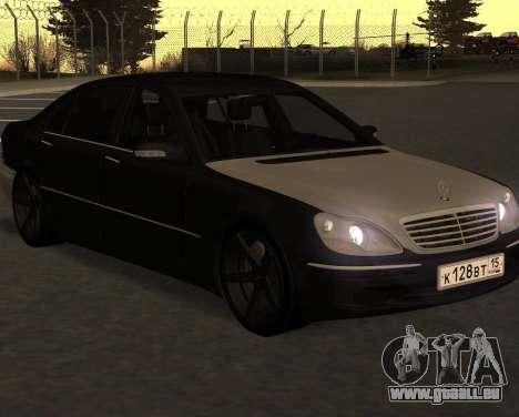 Mercedes S600 W220 JoRick Revazov für GTA San Andreas zurück linke Ansicht