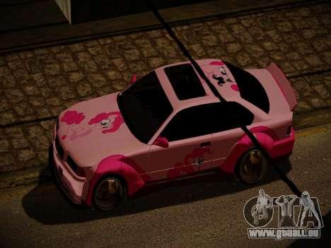 BMW M3 E36 Pinkie Pie pour GTA San Andreas vue de dessous