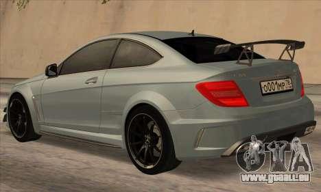 Mercedes-Benz C63 AMG Black-series für GTA San Andreas zurück linke Ansicht