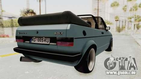 Volkswagen Golf 1 Cabrio VR6 für GTA San Andreas zurück linke Ansicht