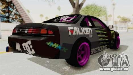 Nissan Silvia S14 Drift Monster Energy Falken pour GTA San Andreas sur la vue arrière gauche