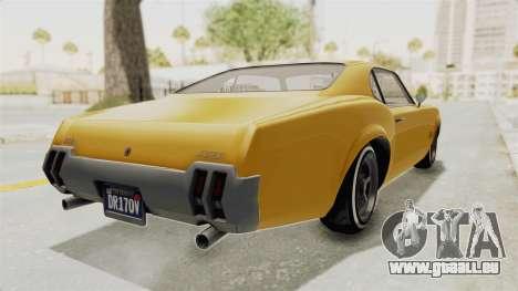 GTA 5 Declasse Sabre GT2 A IVF pour GTA San Andreas sur la vue arrière gauche