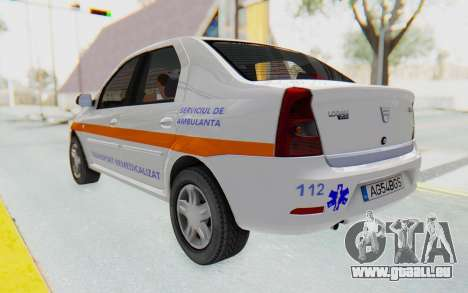 Dacia Logan Facelift Ambulanta pour GTA San Andreas sur la vue arrière gauche