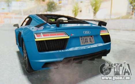 Audi R8 V10 2017 v2.0 pour GTA San Andreas vue de dessous