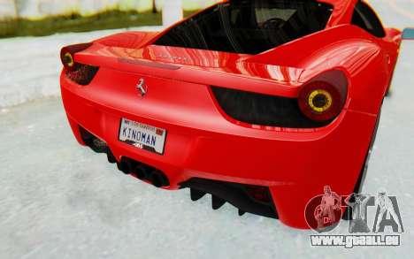 Ferrari 458 Italia F142 2010 pour GTA San Andreas vue de dessous