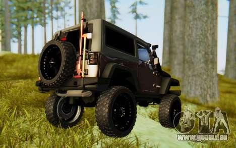 Jeep Wrangler Rubicon 2012 pour GTA San Andreas laissé vue