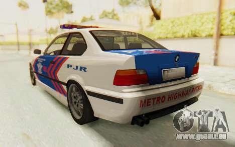 BMW M3 E36 Police Indonesia pour GTA San Andreas vue de droite