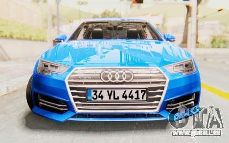Audi A4 2017 HQLM pour GTA San Andreas vue arrière