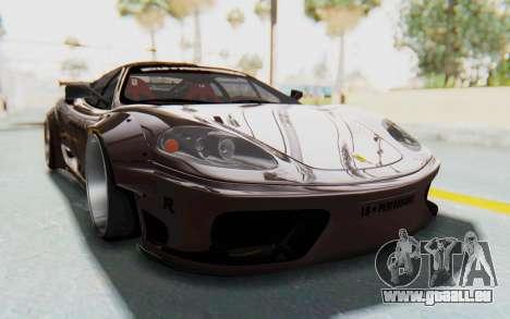 Ferrari 360 Modena Liberty Walk LB Perfomance v1 pour GTA San Andreas sur la vue arrière gauche