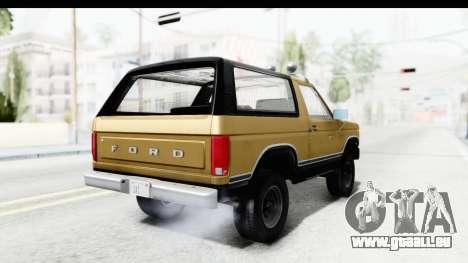 Ford Bronco 1980 IVF pour GTA San Andreas laissé vue