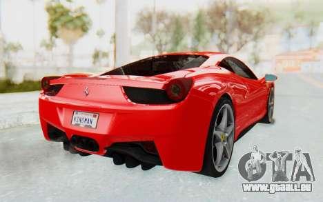 Ferrari 458 Italia F142 2010 pour GTA San Andreas laissé vue