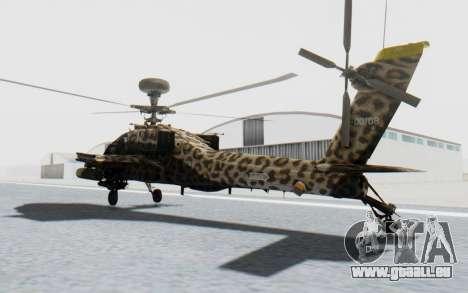 AH-64 Apache Leopard pour GTA San Andreas sur la vue arrière gauche