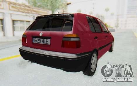 Volkswagen Golf 3 1994 pour GTA San Andreas sur la vue arrière gauche