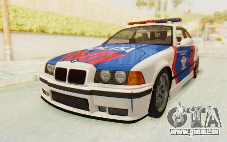 BMW M3 E36 Police Indonesia für GTA San Andreas Rückansicht